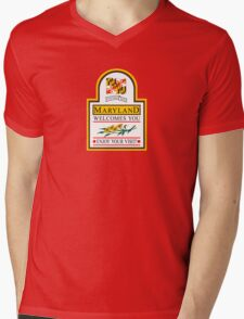 Welcome to Maryland, Road Sign, USA  Mens V-Neck T-Shirt