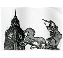 Big ben and Boadicea Statue With Charcoal Effect Poster