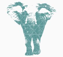 Elephant print  - vintage map One Piece - Short Sleeve