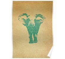 Elephant print  - vintage map Poster