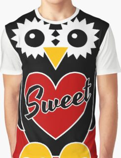 Black Owl with Red Heart - Sweet Graphic T-Shirt
