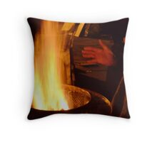 Hands Warming by the Fire Throw Pillow