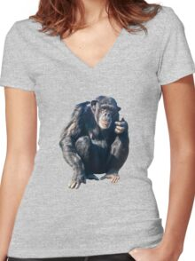 Chimpanzee Women's Fitted V-Neck T-Shirt