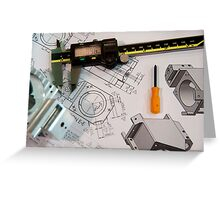 Metal tooling shop floor concept with CAD blueprint and micrometer calliper  Greeting Card