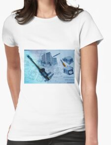 Metal tooling shop floor concept with CAD blueprint and micrometer calliper  Womens Fitted T-Shirt