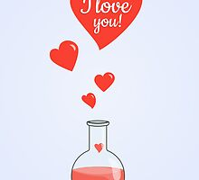 Flask of Hearts Valentine Card by Boriana Giormova