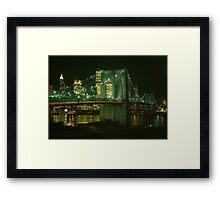 Brooklyn Bridge at Night Photograph Framed Print
