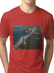 Brooklyn Bridge Aerial Photograph Tri-blend T-Shirt