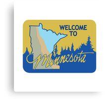 Welcome to Minnesota, Road Sign, USA  Canvas Print