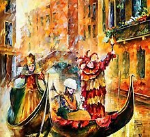 THE MASKS OF VENICE - LEONID AFREMOV by Leonid  Afremov