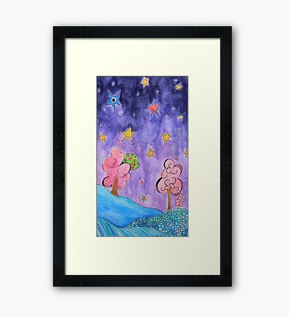 Where in the world - purple Framed Print