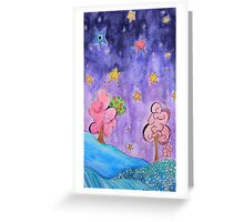 Where in the world - purple Greeting Card
