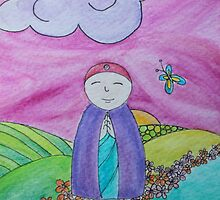 Mizuko Jizo with pink sky butterfly by amymac