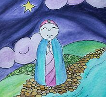 Mizuko Jizo dark sky with star by amymac