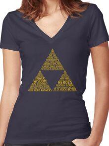 Legend of Zelda Typography Women's Fitted V-Neck T-Shirt