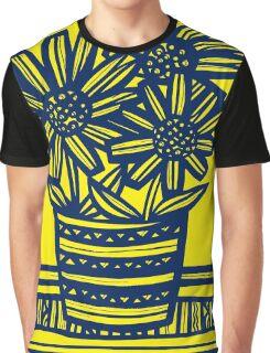 Fogo Flowers Yellow Blue Graphic T-Shirt