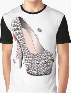 Skull Shoe - Spine Heel - Fashion High Heel Graphic T-Shirt
