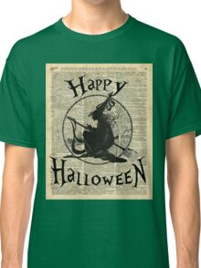 Happy Halloween Witch With Broom Dictionary Artwork Classic T-Shirt