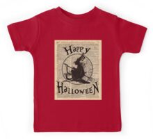 Happy Halloween Witch With Broom Dictionary Artwork Kids Tee