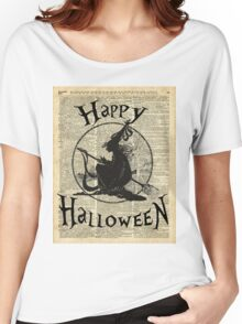 Happy Halloween Witch With Broom Dictionary Artwork Women's Relaxed Fit T-Shirt