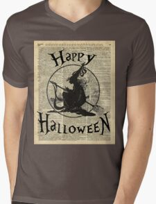 Happy Halloween Witch With Broom Dictionary Artwork Mens V-Neck T-Shirt