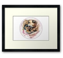 Breast Cancer Awareness-( In Dogs ) sticker Framed Print