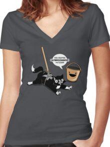 Cat Broom Mop | Geek Retro Gamer Women's Fitted V-Neck T-Shirt
