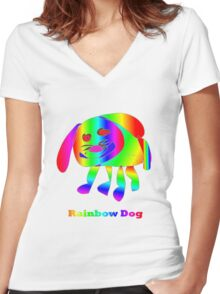 Rainbow Dog Women's Fitted V-Neck T-Shirt