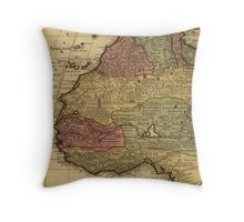 Vintage Map of West Africa (1742) Throw Pillow