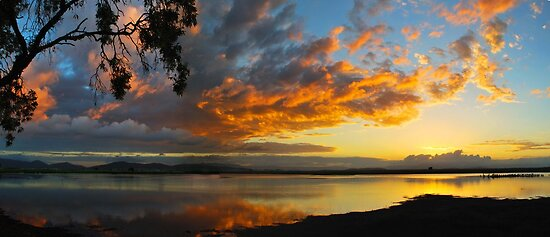 Golden Clouds of Sunset at the Lagoon  by Stephen  Nicholson
