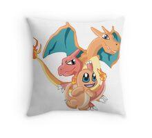 Pokemon Fire Starter Evolution Throw Pillow