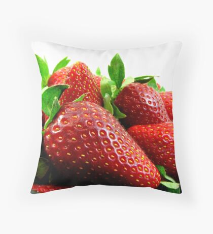 Fresh Juicy Strawberries Throw Pillow