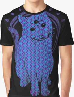 Trippy Cat: Blue Flower of life Edition Graphic T-Shirt