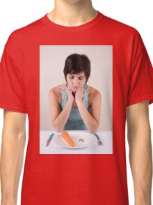 female model in her 20s with a carrot and vitamin pills  Classic T-Shirt