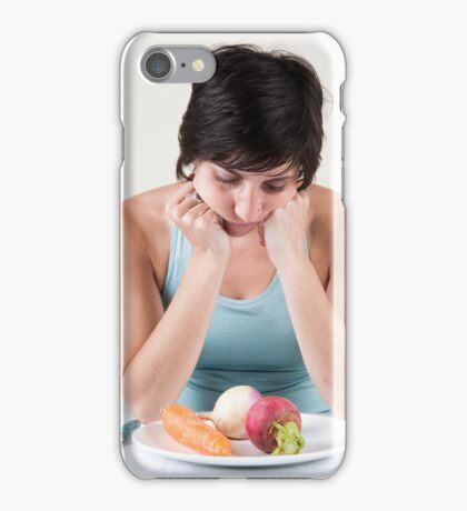 depressed female model with a plate of vegetables iPhone Case/Skin