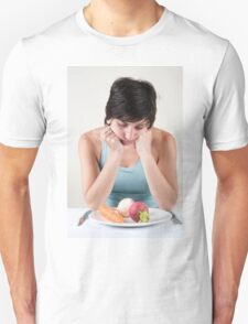 depressed female model with a plate of vegetables Unisex T-Shirt