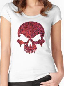 Halloween Red Swirl Skull Women's Fitted Scoop T-Shirt