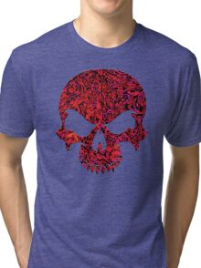 Halloween Red Swirl Skull Tri-blend T-Shirt