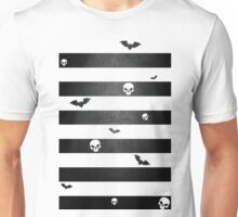 Halloween Stripes with Skulls and Bats Unisex T-Shirt