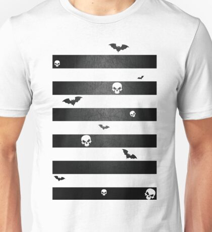 Halloween Stripes with Skulls and Bats Unisex T-Shirt