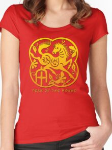Chinese Year of The Horse Papercut Design Women's Fitted Scoop T-Shirt