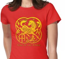 Chinese Year of The Horse Papercut Design Womens Fitted T-Shirt