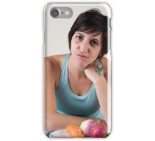 epressed female model in her 20s with a plate of vegetables iPhone Case/Skin