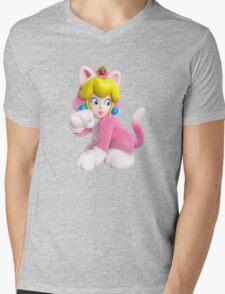 Cat Peach Mens V-Neck T-Shirt