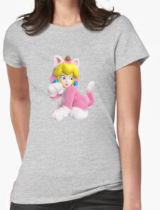 Cat Peach Womens Fitted T-Shirt