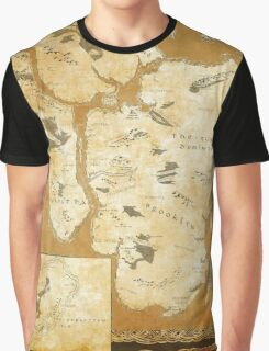 Fantasy Map of New York City: Gold Parchment Graphic T-Shirt