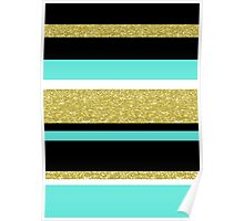 Gold turquoise black  stripes pattern Poster