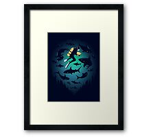 Screwed | Funny Shark and Diver Illustration Framed Print