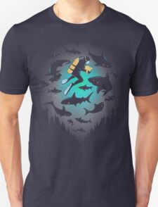 Screwed | Funny Shark and Diver Illustration Unisex T-Shirt