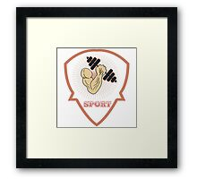 inflated hand with dumbbells. sports Framed Print